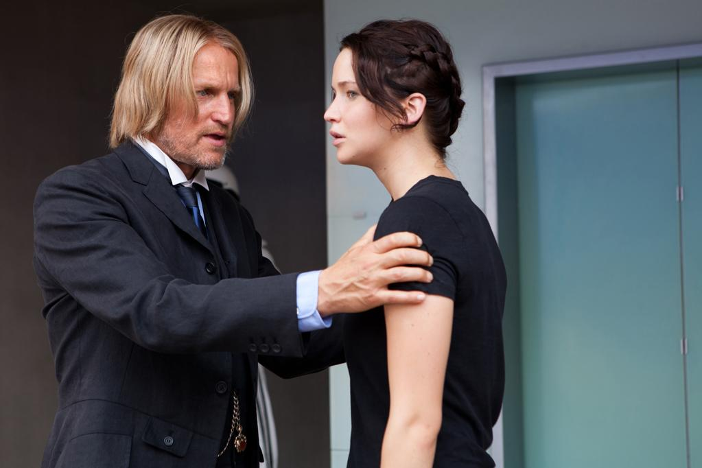 "Woody Harrelson and Jennifer Lawrence in Lionsgate's ""<a href=""http://movies.yahoo.com/movie/the-hunger-games/"">The Hunger Games</a>"" - 2012"