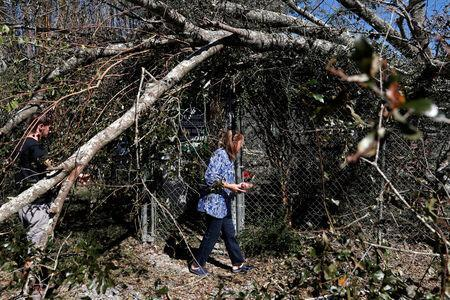 FILE PHOTO: Bertie Broaddus, a manager of the Bear Creek Feline Center, walks through the damage caused by Hurricane Michael at the Feline Center in Panama City, Florida, U.S. October 12, 2018. REUTERS/Terray Sylvester/File Photo