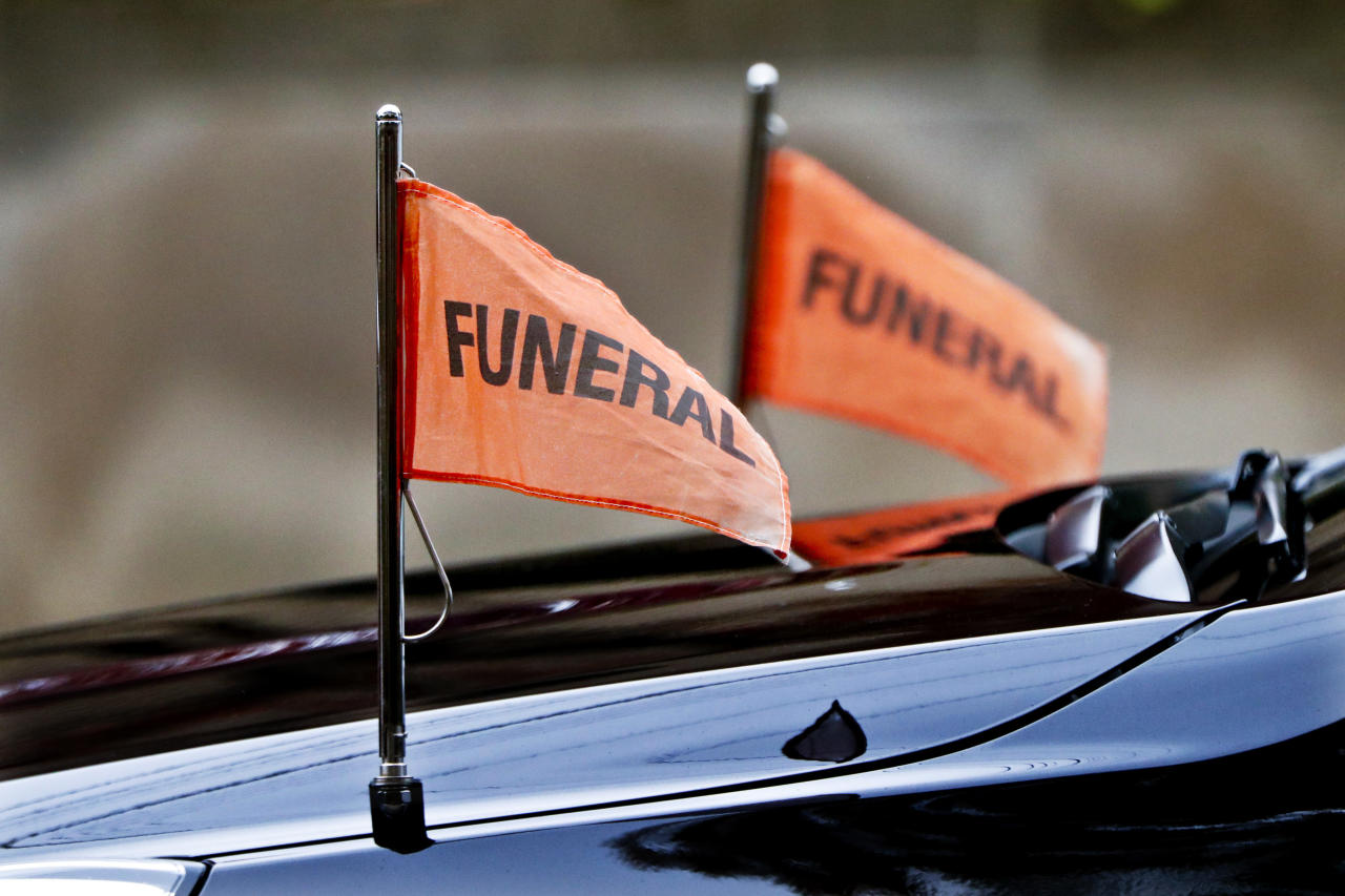 <p>Funeral flags are on the hearse for the funeral of Rose Mallinger, 97, at Congregation Rodef Shalom on Friday, Nov. 2, 2018, in Pittsburgh. Mallinger was one of the eleven victims killed in the deadly shooting at a synagogue in Pittsburgh's Squirrel Hill neighborhood last Saturday. (Photo: Keith Srakocic/AP) </p>