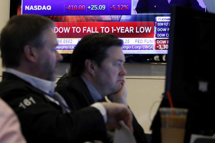 A television screen headlines news as traders prepare for the day's activity on the floor of the New York Stock Exchange, Monday, March 9, 2020. Trading in Wall Street futures has been halted after they fell by more than the daily limit of 5%. (AP Photo/Richard Drew)