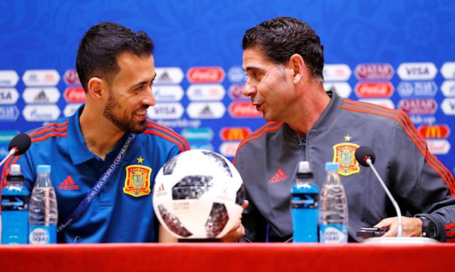 Soccer Football - World Cup - Spain Press Conference - Kaliningrad Stadium, Kaliningrad, Russia - June 24, 2018 Spain's Sergio Busquets and coach Fernando Hierro during the press conference REUTERS/Fabrizio Bensch