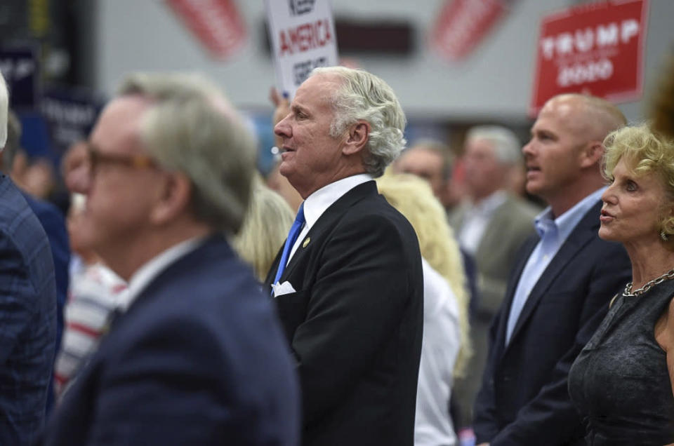 South Carolina Gov. Henry McMaster looks on during U.S. Rep. Jeff Duncan's annual Faith and Freedom BBQ fundraiser on Monday, Aug. 26, 2019, in Anderson, S.C. (AP Photo/Meg Kinnard)