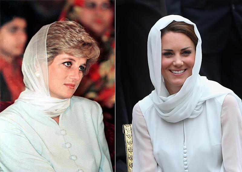 In this composite image a comparison has been made between Princess Diana (L) and Catherine, Duchess of Cambridge (R). Catherine donned a headscarf and outfit in Kuala Lumpur similar in style to Princess Diana on a visit to Pakistan in 1996 (LEFT IMAGE) LAHORE, PAKISTAN - JUNE 22: Princess Diana At Shaukat Khanum Hospital In Lahore, Pakistan. (Photo by Tim Graham Photo Library via Getty Images) (RIGHT IMAGE) KUALA LUMPUR, MALAYSIA - SEPTEMBER 14: Catherine, Duchess of Cambridge visits Assyakirin Mosque on day 4 of Prince William, Duke of Cambridge and Catherine, Duchess of Cambridge's Diamond Jubilee Tour of the Far East on September 14, 2012 in Kuala Lumpur, Malaysia. (Photo by Chris Jackson/Getty Images)