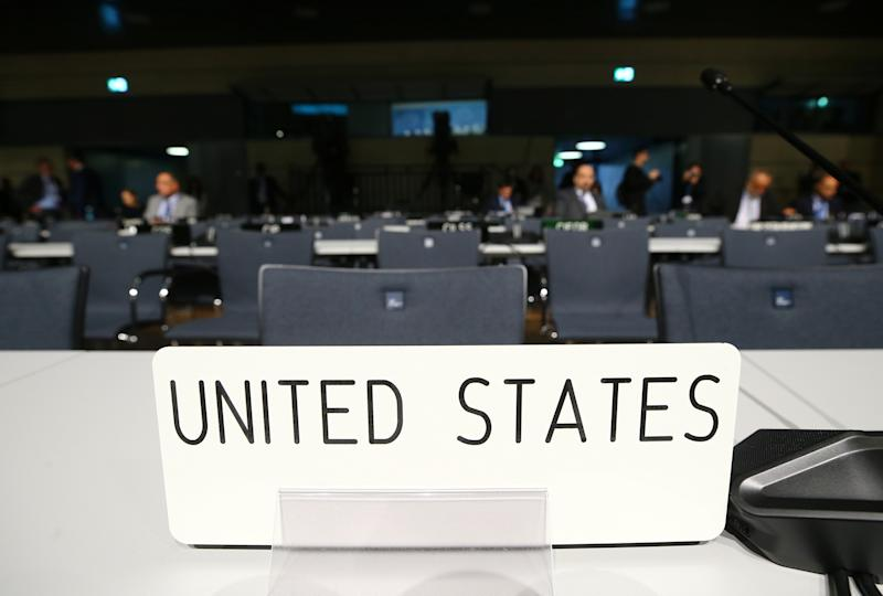 Empty seats of U.S. delegation are seen before the opening session of the COP23 UN Climate Change Conference 2017, hosted by Fiji but held in Bonn. (Wolfgang Rattay / Reuters)