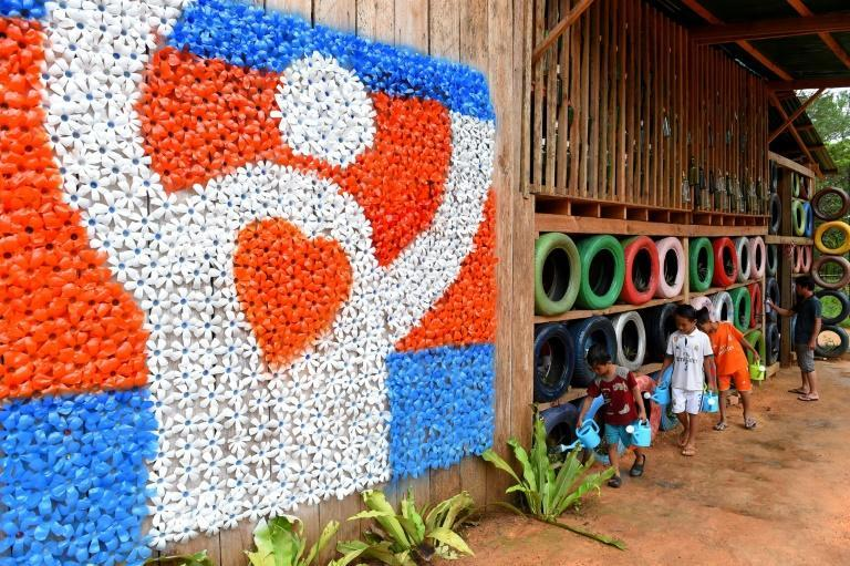 Located in a lush national park, the Coconut School is built almost entirely from recycled waste and is the brainchild of Ouk Vanday, nicknamed the Rubbish Man, a former hotel manager who dreams of a trash-free Cambodia