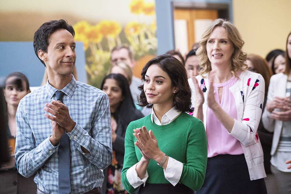 """<p><b>The 1-Sentence Pitch: </b> Exec producer Patrick Schumacker says """"<i>Powerless</i> is a workplace comedy following the R&D team of Wayne Security — a company that creates security products for commoners to deal with the effects of superhero battle collateral damage."""" <br /><br /><b>What to Expect: </b> Originally set in an insurance company, the show was retooled to bring it — very tangentially — into the Batman mythology. Alan Tudyk plays the black sheep cousin of the Wayne family and Vanessa Hudgens is the """"idealistic, hopeful, optimistic Mary Tyler Moore analog"""" working under him. <br /><br /><b>Comic Book Comedy: </b> """"We have an episode coming up where the people of Atlantis come to visit our office as prospective clients,"""" reveals Schumacker. Also, """"one of our characters begins a relationship with a guy who turns out to be a henchman."""" The intersection of superheroes and TV comedy is almost completely unexplored, so """"we can take classic office comedy tropes — or just sitcom tropes — and turn them on their ear because of the universe,"""" says Schumacker. <i>— RC</i> <br /><br />(Credit: Chris Large/NBC) </p>"""