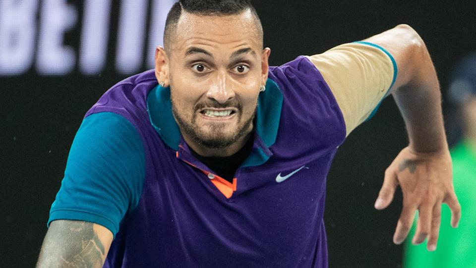 Nick Kyrgios, pictured here in action against Dominic Thiem at the Australian Open.