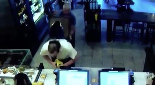 The customer hits the thief with a chair. Source: Fresno Police