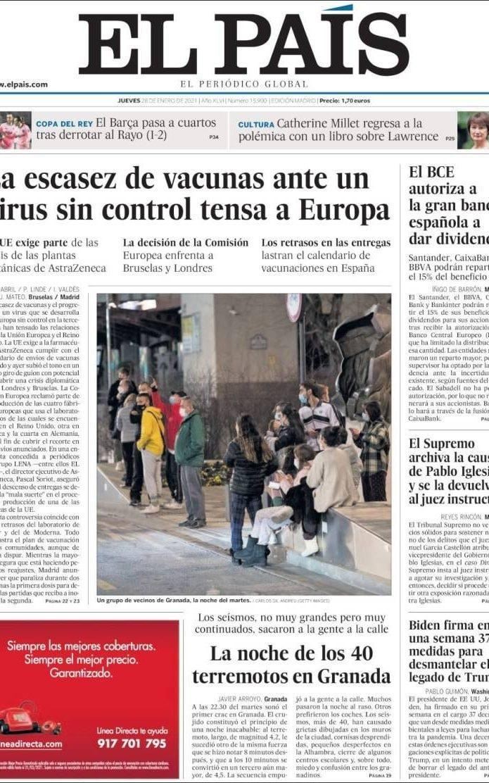 The front page of El Pais on Thursday  - El Pais