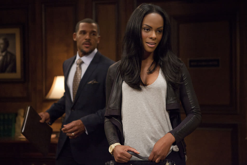 "Peter Parros as David Harrington and Tika Sumpter as Candace Young in ""The Haves and the Have Nots"" episode, ""Playing in the Deep End."""