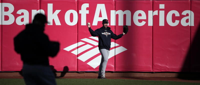 Detroit Tigers starting pitcher Justin Verlander catches fly balls during a workout for baseball's World Series Tuesday, Oct. 23, 2012, in San Francisco. The Tigers play the San Francisco Giants in Game 1 on Wednesday, Oct. 24. (AP Photo/Charlie Riedel)