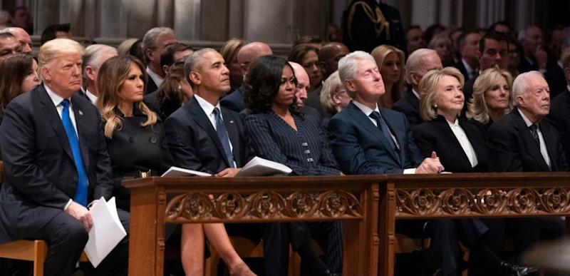 Donald Trump and other former presidents at first ladies at the funeral of George H.W. Bush.