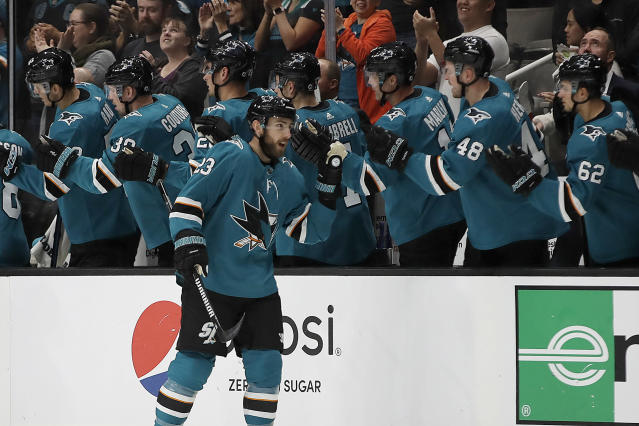 San Jose Sharks' Barclay Goodrow is congratulated after scoring a goal against the Carolina Hurricanes during the second period of an NHL hockey game Wednesday, Oct. 16, 2019, in San Jose, Calif. (AP Photo/Ben Margot)