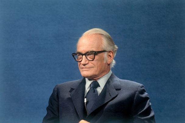 PHOTO: Senator Barry Goldwater is interviewed for the television show 'Face The Nation', April 27, 1975. (Bettmann Archive, FILE)