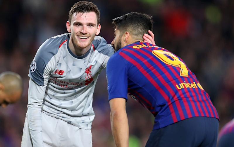 Andy Robertson has a word with Luis Suarez - Getty Images Europe