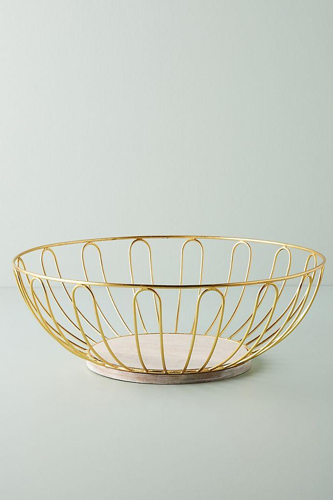 Gold Wire Fruit Basket