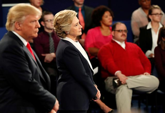 Ken Bone listens to a question along with Donald Trump and Hillary Clinton during their presidential debate in St. Louis, Oct. 9, 2016. (Photo: Rick Wilking/Reuters)
