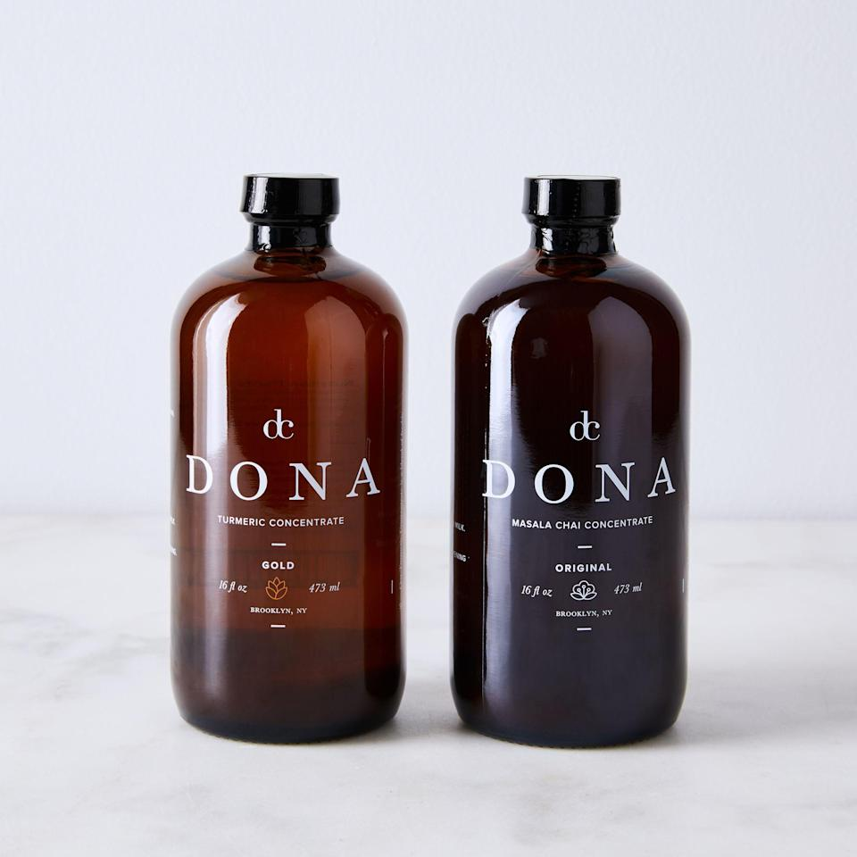 """<h2>Dona Chai Tea & Turmeric Concentrate<br></h2><br>Your mom has always been tea-curious, and has been known to enjoy many a steaming mug of wellness elixirs over the years. This set of concentrates will bring some new flavors to her 4 PM snack break or after-dinner brew.<br><br><em>Shop pantry gifts at <strong><a href=""""https://food52.com/shop/pantry"""" rel=""""nofollow noopener"""" target=""""_blank"""" data-ylk=""""slk:Food52"""" class=""""link rapid-noclick-resp"""">Food52</a></strong></em><br><br><strong>Dona</strong> Chai Tea & Turmeric Concentrate, $, available at <a href=""""https://go.skimresources.com/?id=30283X879131&url=https%3A%2F%2Ffood52.com%2Fshop%2Fproducts%2F2629-chai-tea-turmeric-concentrate"""" rel=""""nofollow noopener"""" target=""""_blank"""" data-ylk=""""slk:Food52"""" class=""""link rapid-noclick-resp"""">Food52</a>"""