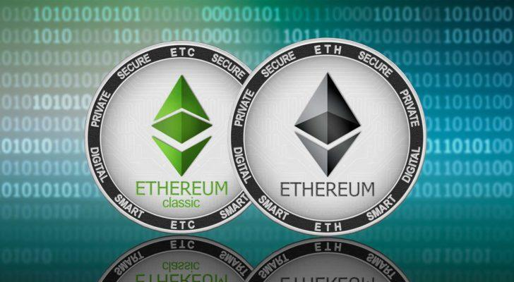Concept coins for Ethereum (ETH) and Ethereum Classic (ETC).