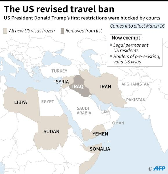 Map and key elements of a revised ban on travelers from six Muslim-majority nations signed by US President Donald Trump (AFP Photo/Gillian HANDYSIDE, Kun TIAN)