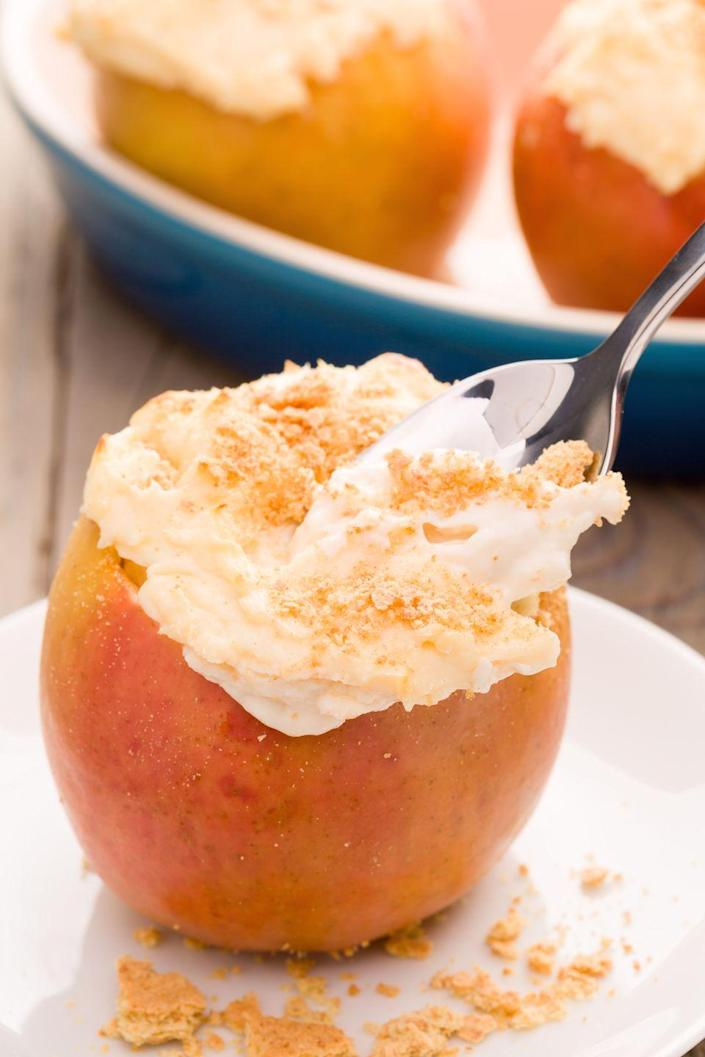 """<p>Anything stuffed into a fruit is diet friendly, right? </p><p>Get the recipe from <a href=""""https://www.delish.com/cooking/recipe-ideas/recipes/a43870/baked-apple-cheesecakes-recipe/"""" rel=""""nofollow noopener"""" target=""""_blank"""" data-ylk=""""slk:Delish"""" class=""""link rapid-noclick-resp"""">Delish</a>.</p>"""