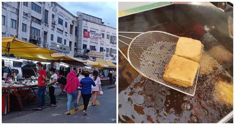 People walking along the Sri Petaling night market, at left, and stinky tofu in the fryer, at right. Photos: Pasar Malam Sri Petaling and Denise Tan/Facebook