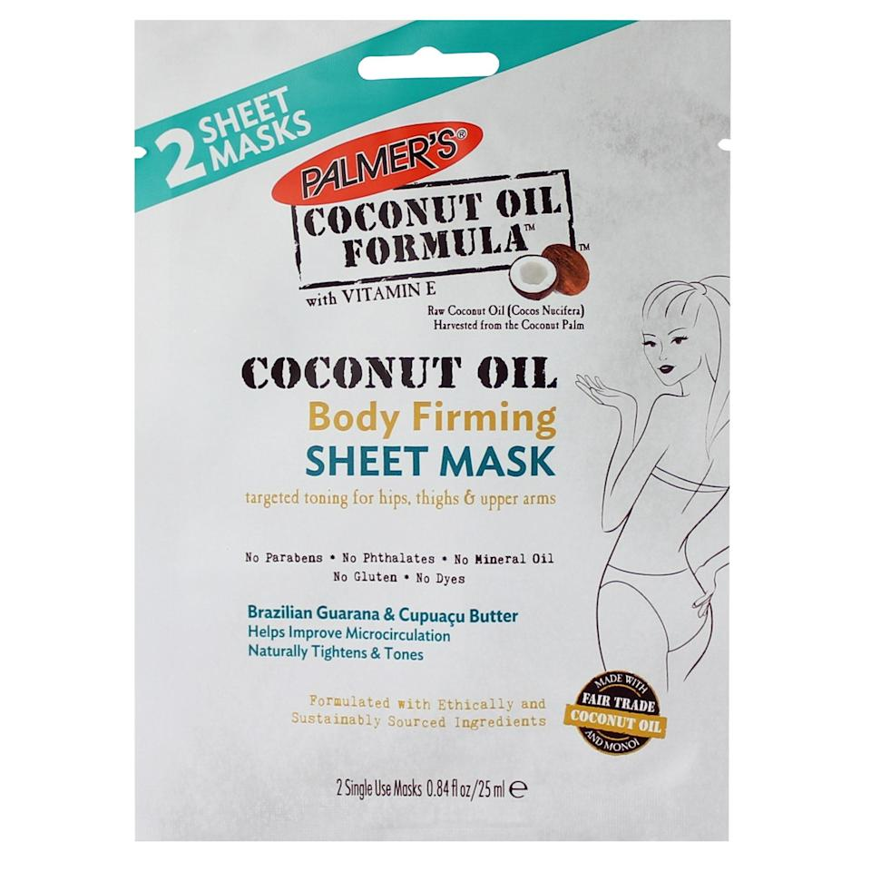 "<p>Palmer's sheet mask uses coconut oil (duh) and guarana extract to ""tighten"" areas of your body other than your face. Slap this sheet mask on your inner thighs, waist, or butt, and let it work its magic.</p> <p><strong>$8</strong> (<a href=""https://shop-links.co/1624878393209605310"" rel=""nofollow noopener"" target=""_blank"" data-ylk=""slk:Shop Now"" class=""link rapid-noclick-resp"">Shop Now</a>)</p>"