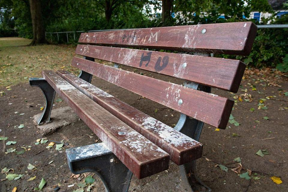 The bench where the notorious incident took place (SWNS)