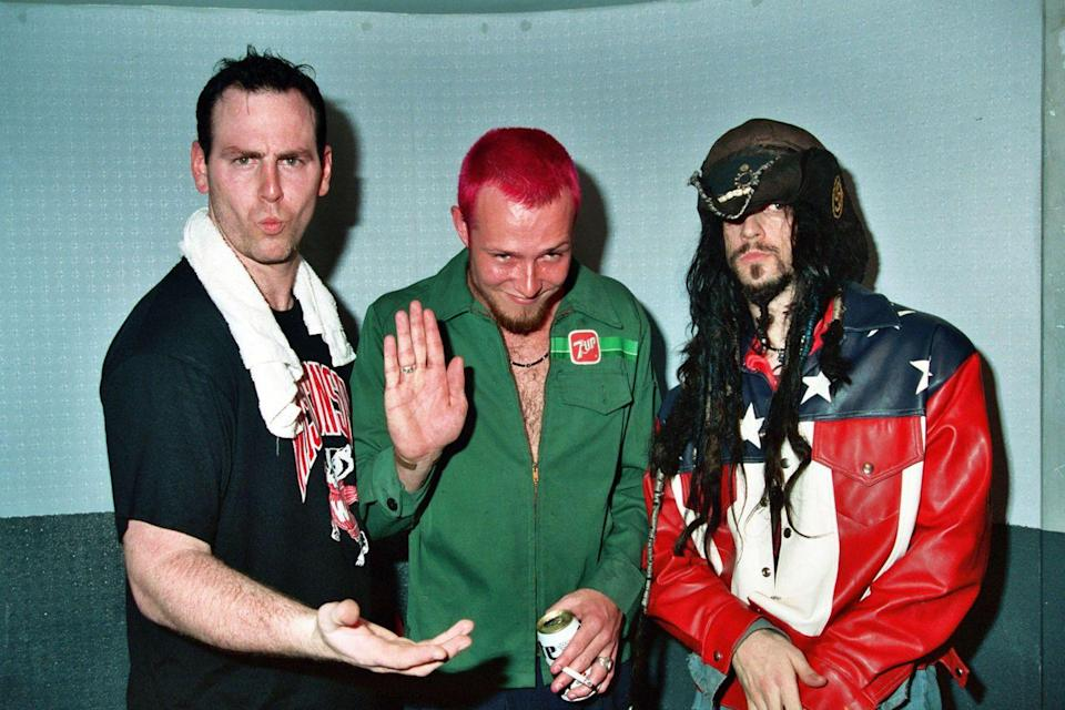 <p>Greg Graffin of Bad Religion, L7, Scott Weiland of Stone Temple Pilots and Rob Zombie of White Zombie attend Rock for Choice in 1993.</p>