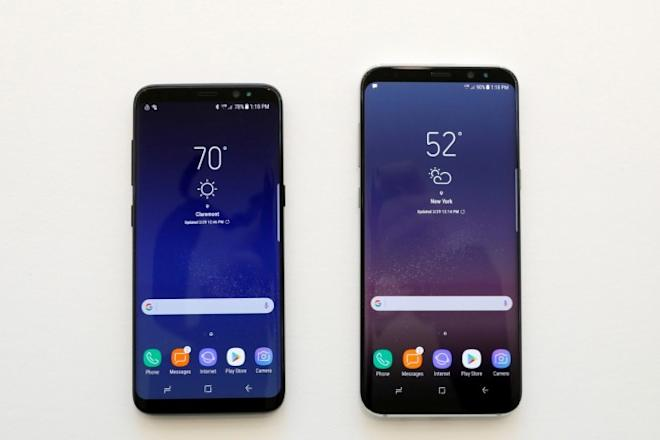 Samsung Galaxy S8 and S8 smartphones are displayed