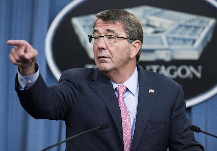 US Defence Secretary Ashton Carter speaks about Russian airstrikes in Syria during a press briefing at the Pentagon in Washington, DC, on September 30, 2015 (AFP Photo/Saul Loeb)