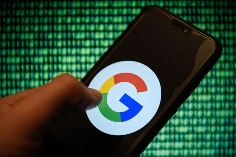 Google logo is seen on an android mobile phone