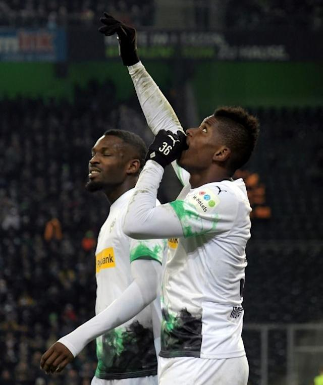 Gladbach forward Breel Embolo celebrates after netting twice in a 4-2 win over Freiburg last Sunday (AFP Photo/INA FASSBENDER)