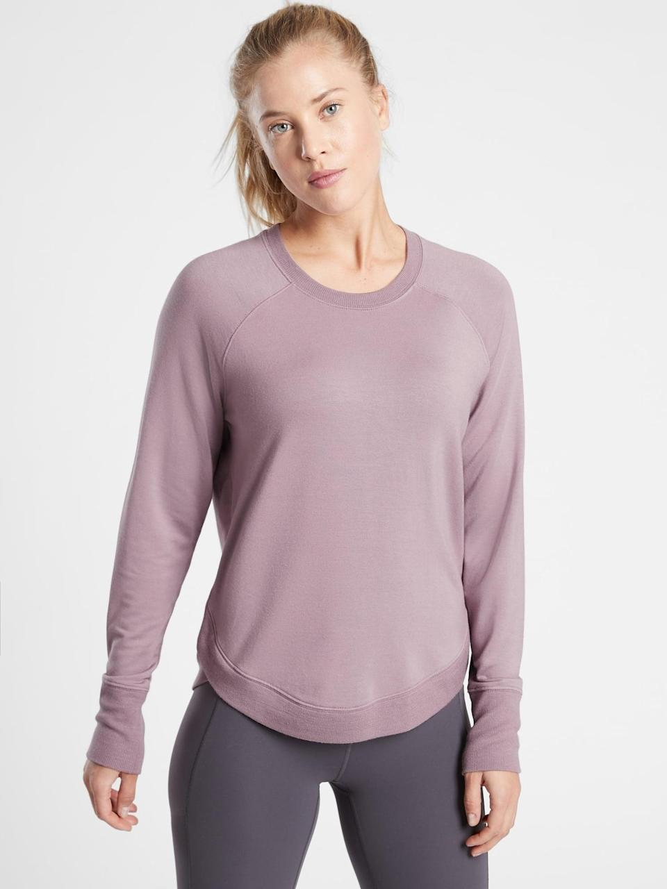 <p>There are more than 2,000 reviews for this <span>Athleta Mindset Sweatshirt</span> ($56-$69, originally $69) which comes in 17 color choices.</p>