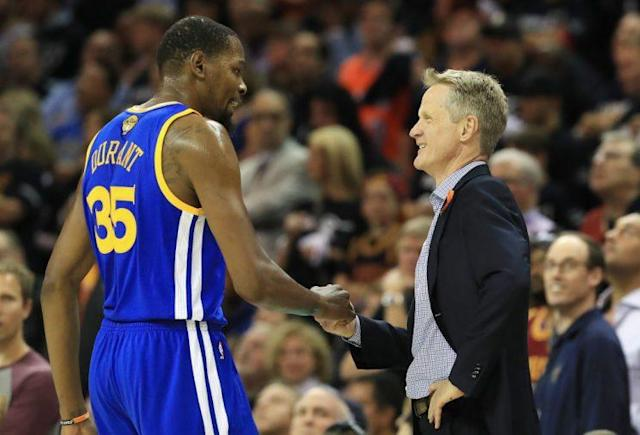 "<a class=""link rapid-noclick-resp"" href=""/nba/players/4244/"" data-ylk=""slk:Kevin Durant"">Kevin Durant</a> has impressed Steve Kerr in a lot of ways since joining the Warriors. (Getty Images)"
