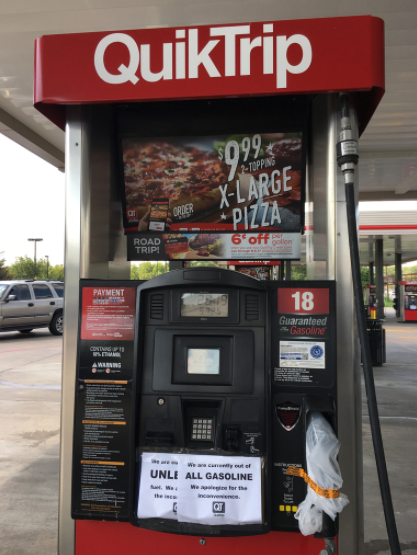 """We are currently out of ALL GASOLINE"" a sign reads at a Gallas QuickTrip. (Cindy Bagwell)"