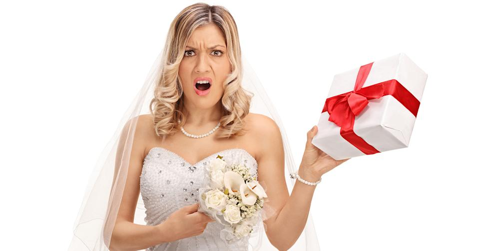 A bride is being slammed after sharing her gift registry, revealing she was asking for a car and designer clothing among other things. Photo: Getty