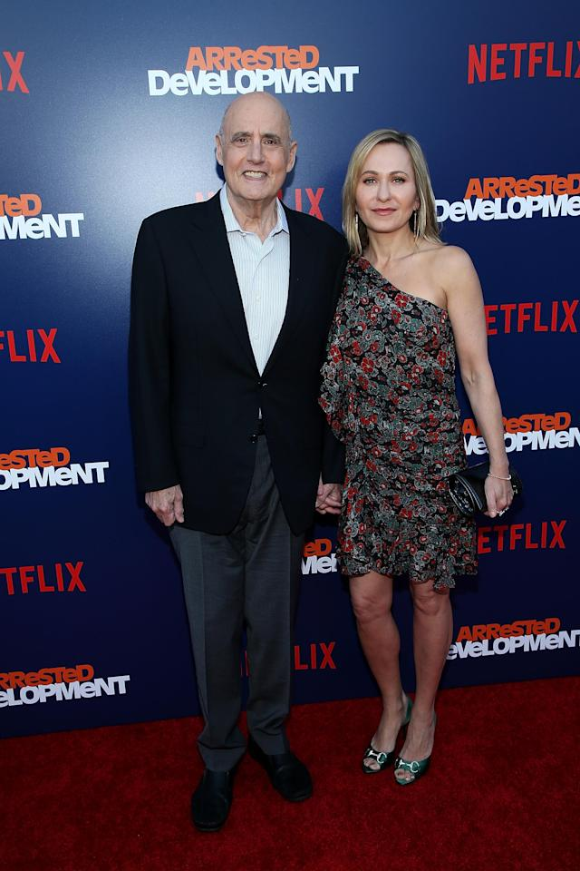 Jeffrey Tambor and his wife, Kasia Ostlun, at the <em>Arrested Development</em> Season 5 premiere (Photo: Rich Fury/Getty Images)