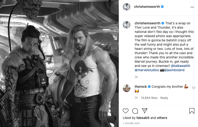 Chris Hemsworth announces 'Thor: Love and Thunder' has wrapped filming (Instagram)