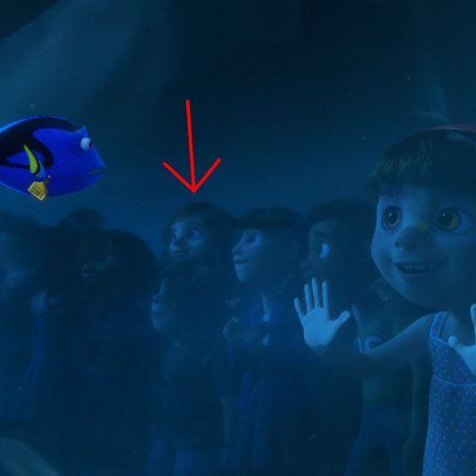 <p>She's almost as hard to spot as a camouflaging septopus, but Riley from <em>Inside Out</em> is one of the aquarium visitors gazing into Dory's tank in <em>Finding Dory</em>. And, judging by the expression on her face, it looks like Joy is at the controls.<br></p>