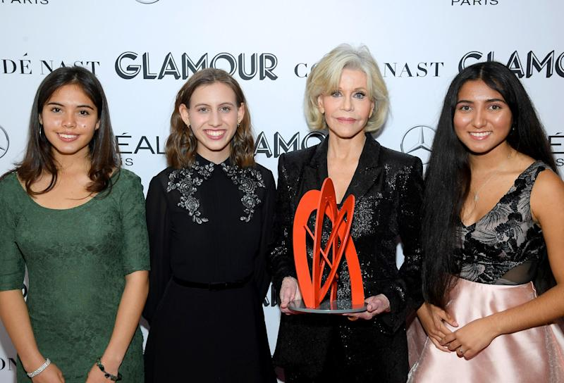 Xiye Bastida, Jane Fonda, Alexandria Villasenor and Jade Lozada (Dimitrios Kambouris/Getty Images for Glamour)