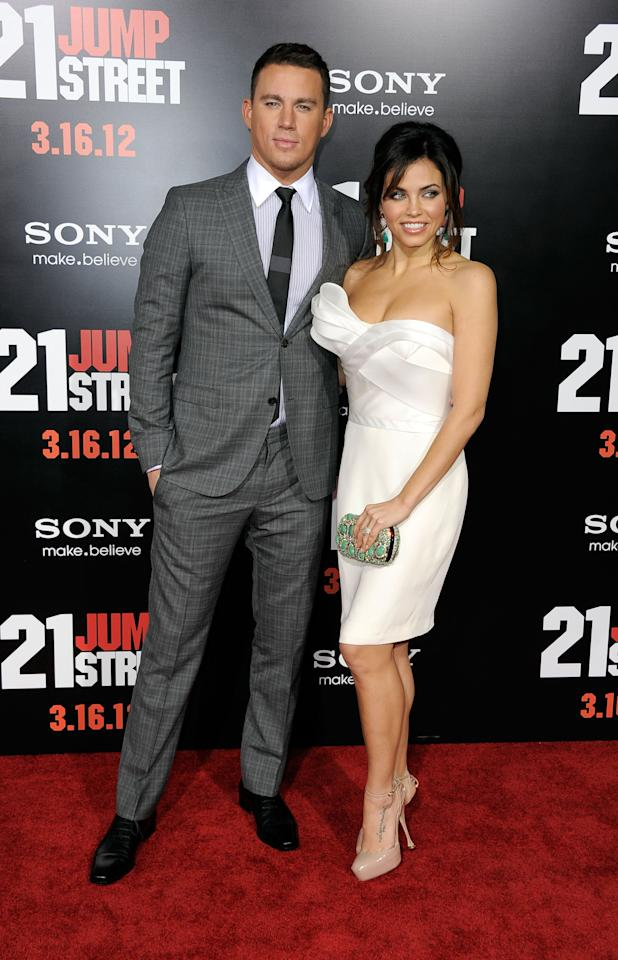 "HOLLYWOOD, CA - MARCH 13:  Actors Channing Tatum and Jenna Dewan-Tatum arrive at the Premiere Of Columbia Pictures' ""21 Jump Street"" at Grauman's Chinese Theatre on March 13, 2012 in Hollywood, California.  (Photo by Frazer Harrison/Getty Images)"