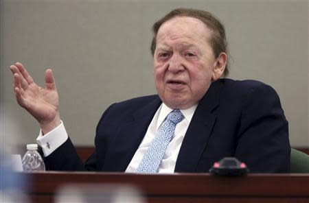 File of Las Vegas Sands Corp Chairman and CEO Adelson testifies on the witness stand at the Regional Justice Center in Las Vegas