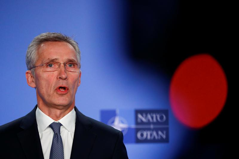 NATO Secretary General Jens Stoltenberg briefs media after a meeting of the Alliance's ambassadors over the security situation in the Middle East, in Brussels
