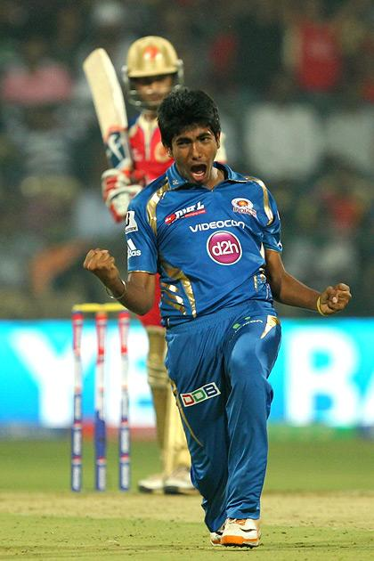 J. Bumrah celebrates wicket of M. Agrawal during match 2 of of the Pepsi Indian Premier League between The Royal Challengers Bangalore and The Mumbai Indians held at the M. Chinnaswamy Stadium, Bengaluru on the 4th April 2013Photo by Prashant BhootSPORTZPICS Use of this image is subject to the terms and conditions as outlined by the BCCI. These terms can be found by following this link:https://ec.yimg.com/ec?url=http%3a%2f%2fwww.sportzpics.co.za%2fimage%2fI0000SoRagM2cIEc&t=1493180344&sig=xArkkh64a3BRAk7N0yow9Q--~C