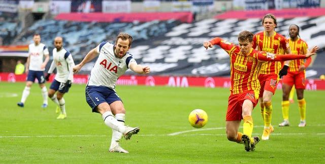 Harry Kane has a shot at goal during the first half