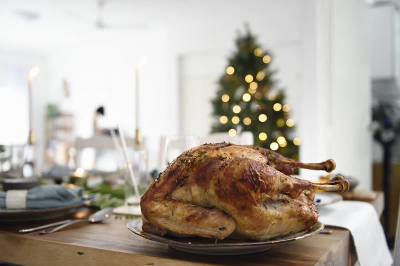 Roast turkey on a beautiful Christmas table