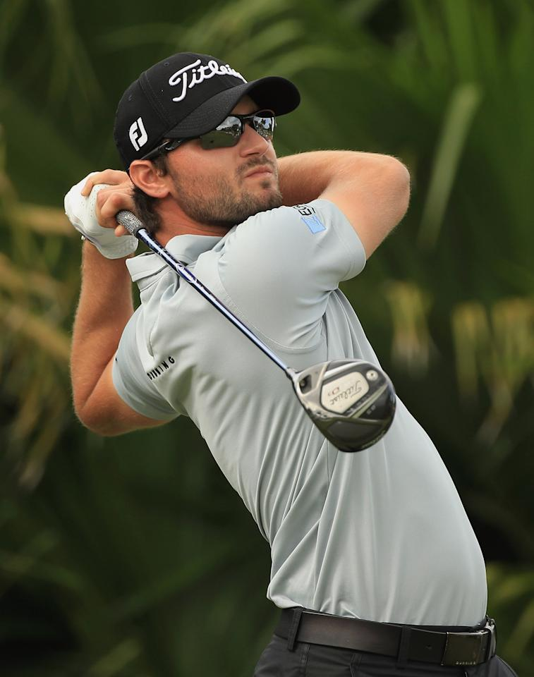 MIAMI, FL - MARCH 08:  Kyle Stanley watches his tee shot on the eighth hole during first round of the World Golf Championships-Cadillac Championship on the TPC Blue Monster at Doral Golf Resort And Spa on March 8, 2012 in Miami, Florida.  (Photo by Scott Halleran/Getty Images)