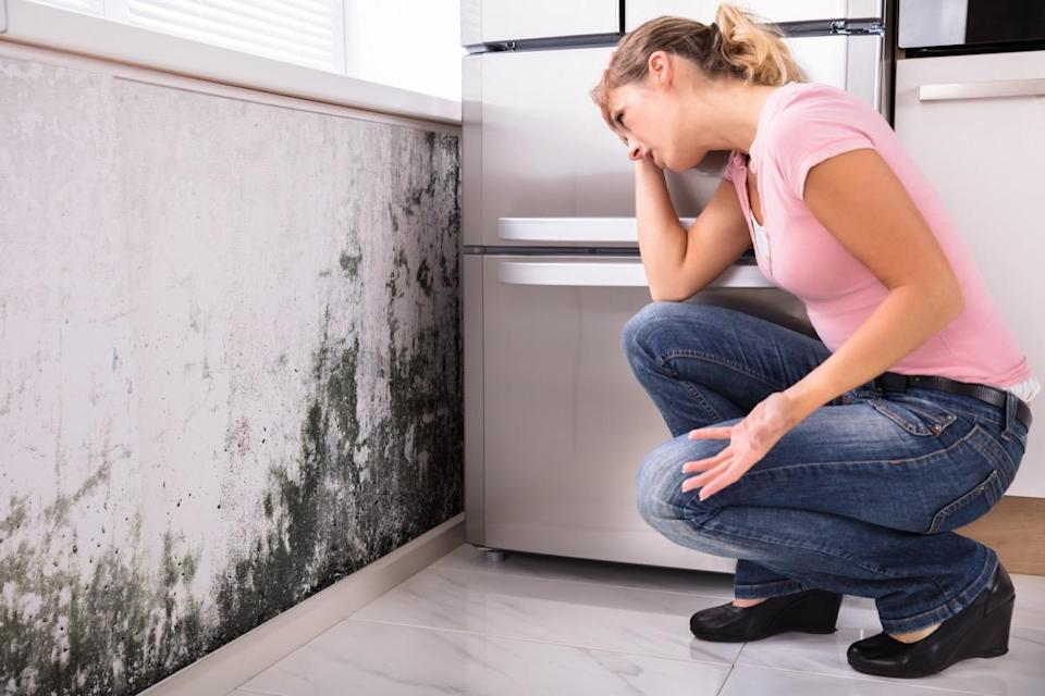 Shocked woman looking at mold on the wall.