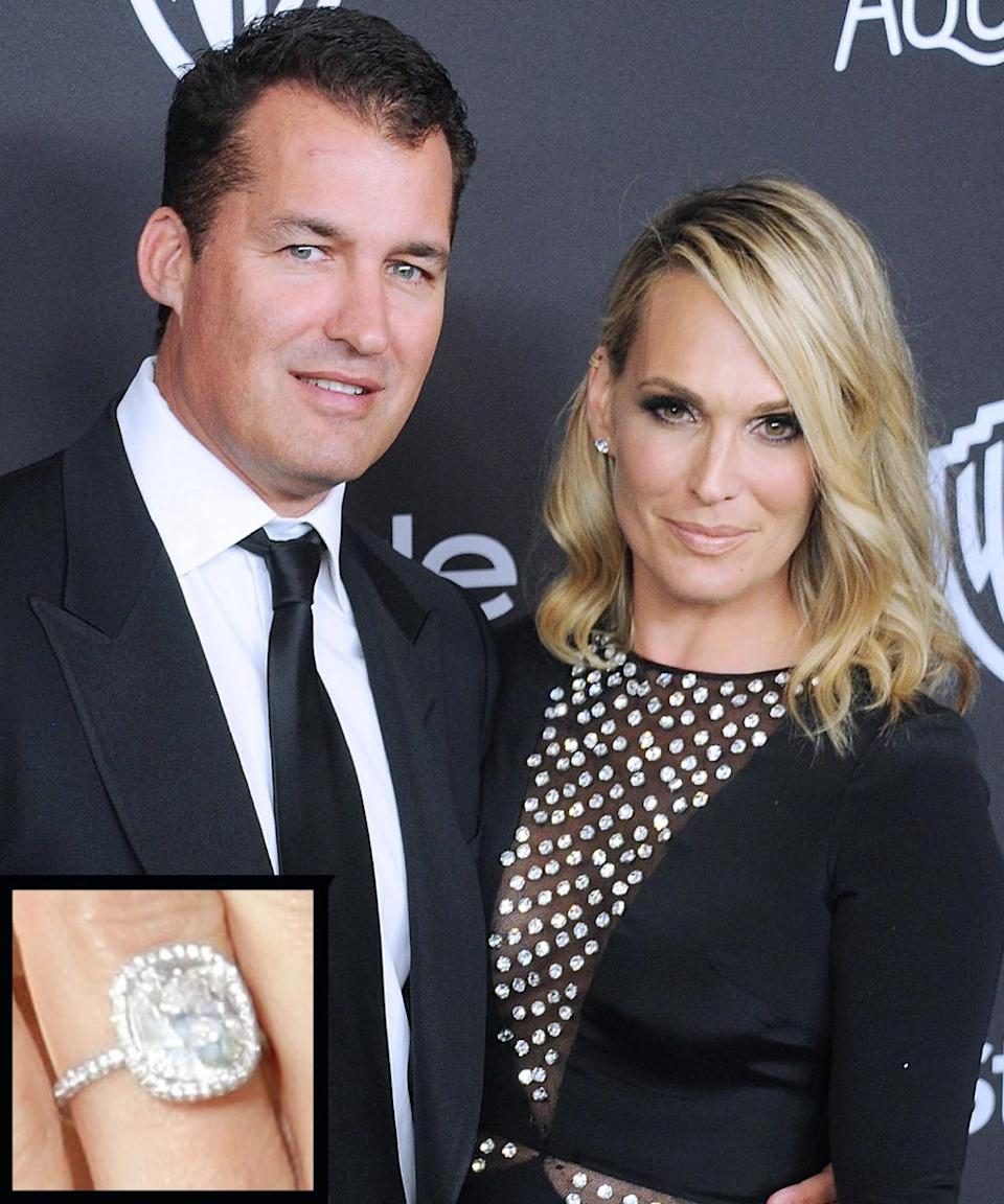 """<p>Scott Stuber propposed to model Molly Sims with a <a rel=""""nofollow noopener"""" href=""""http://www.instyle.com/news/molly-sims-engagement-ring-all-details"""" target=""""_blank"""" data-ylk=""""slk:cushion-cut ring"""" class=""""link rapid-noclick-resp"""">cushion-cut ring</a> that he designed himself with one of her friends. The couple wed in September 2011.</p>"""